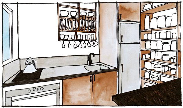 38 m2 Kuchyňa trojčlennej rodiny obývajúcej byt srozlohou 38 m2. Majitelia sa rozhodli vytvoriť samostatnú kuchyňu, v ktorej má kuchár všetko poruke. Dvierka horných skriniek, ktoré sa otvárajú do priestoru, by zavadzali, preto ponechali len otvorené police.   Tip: Umývačky riadu sa nemusíte vzdať ani v malých priestoroch – ušetrí miesto na kuchynskej linke, ktoré by ste inak potrebovali na odkvapkávanie umytého riadu. Aj sporáky, varné dosky, chladničky či rúry sa prispôsobujú malým kuchyniam – možno ich zohnať strochu menšou výškou, dĺžkou či hĺbkou.