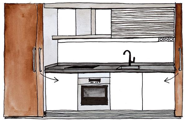 Kuchyňa v skrini Vmalometrážnych bytoch agarsónkach sa majitelia niekedy rozhodnú miestnosť, v ktorej bola pôvodne kuchyňa, prerobiť na spálňu alebo detskú izbu akuchynskú linku presunúť do obývačky. Aby nebol pracovný neporiadok neustále na očiach, ideálnym riešením je skryť linku napríklad za posuvné dvere. Napriek menším priestorovým nárokom aj tu možno dodržať ergonomickú postupnosť: chladnička – varná doska – pracovná plocha – drez – prípravná plocha. kresba: Jana Macinská