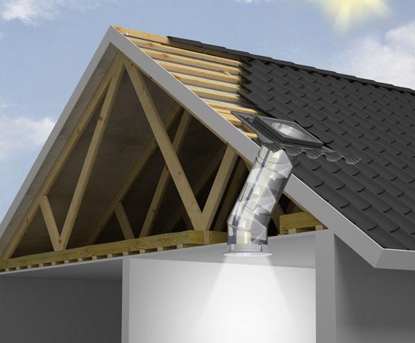 Svetlovod je uzavretý vodotesný tubus, ktorý prechádza strešnou krytinou avšetkými vrstvami izolácie, aprivádza denné svetlo do miestnosti cez jej strop. Pri dodržaní technologického postupu jeho inštalácie sa presakovania vody netreba obávať.