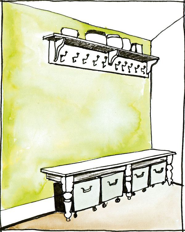 Na kolieskach Tento príklad ukazuje domácnosť, v ktorej treba nosiť triedený odpad ďaleko, čiže to nerobia často, atreba ho dovtedy nejako spratne uskladniť. Pomerne veľké plechové kontajnery na kolieskach sa vysúvajú spod lavice vpredsieni, zmestí sa do nich naozaj všetko – od plastov cez starý papier až po topánky vškatuliach (tie však do odpadu nemusia ísť J). Podobné riešenie možno zvoliť aj vobývacej izbe – tu však kontajnery môžu byť napríklad zopracovaného dreva, ktoré ladí snábytkom vobývačke, alebo zrotangu či iného príjemného materiálu.