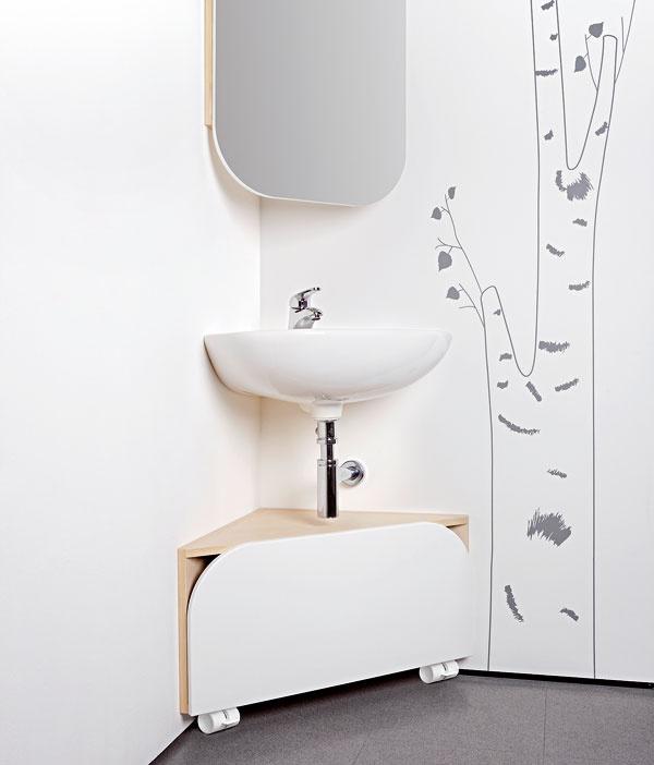 Ak vám prekáža vkúpeľni umývadlo azaberá vám príliš veľa miesta, spokojným svedomím ho pošlite do kúta.