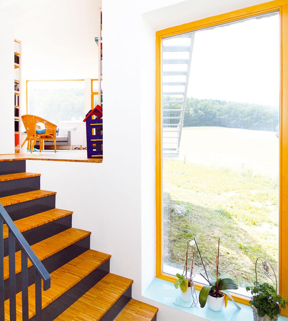 Kým vyjdete drevenými schodmi do obývačky, môžete sa pokochať pohľadom na les.