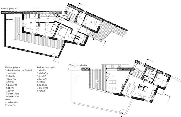 Pôdorys prízemia (celková plocha 140,76 m2)   1 zádverie   2 chodba   3 kúpeľňa   4 šatník   5 pracovňa   6 spálňa   7 šatník    8 detská izba   9 detská izba 10 WC 11 schodisko 12 dvorček  Pôdorys poschodia 1 chodba 2 obývačka 3 jedáleň 4 kuchyňa 5 šatník 6 kúpeľňa 7 pracovňa 8 terasa