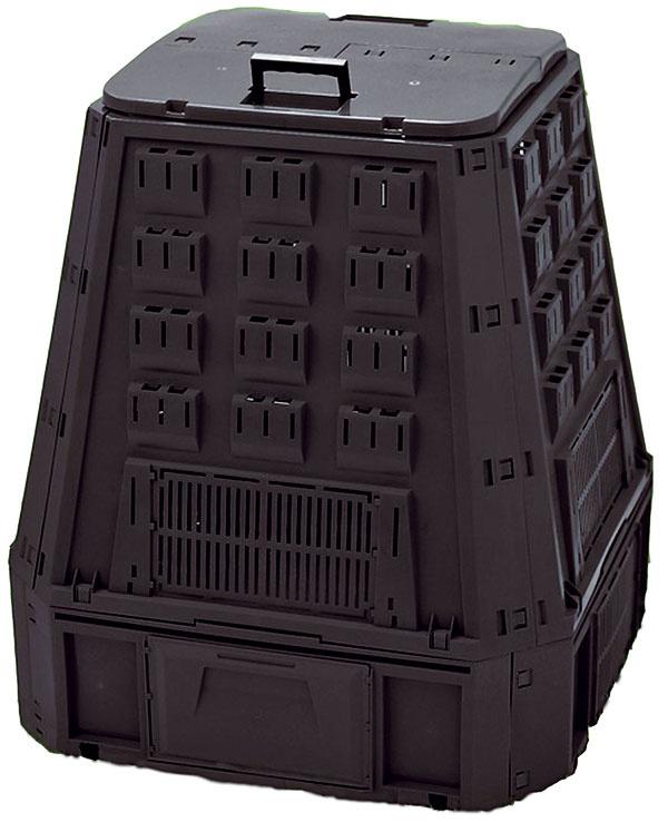 Kompostér JRK 600 Hobby sjednoduchým tvarom. Objem 600 litrov, výška 107 cm, základňa 90 × 90 cm, hmotnosť 10 kg. Cena 45 €.