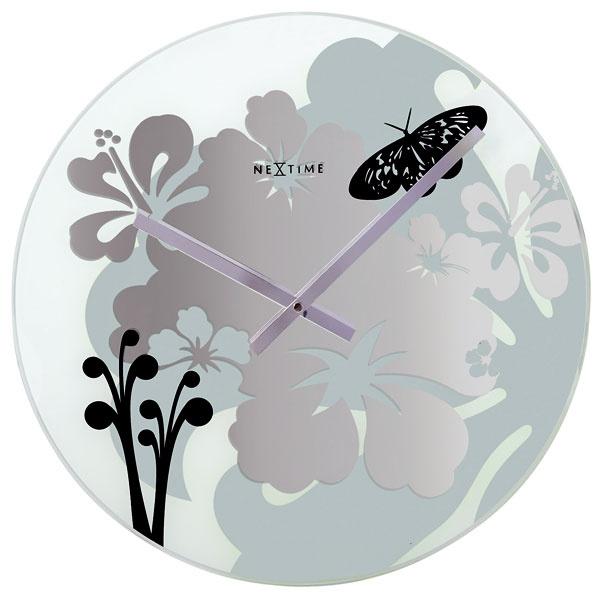 Nástenné hodiny Hibiscus Black Nextime, 43 cm, 49 €, www.dekoraciedobytu.sk
