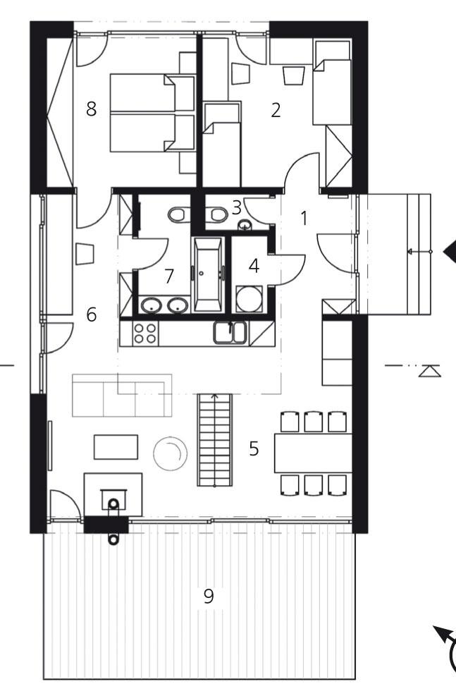 Pôdorys prízemia 1 zádverie5,4 m2 2 izba12,2 m2 3 WC1,3 m2 4 komora1,7 m2 5 obytný priestor33,0 m2 6 pracovňa5,9 m2 7 kúpeľňa + WC4,9 m2 8 izba12,4 m2 9 terasa25,4 m2