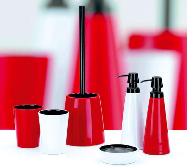 Doplnky do kúpeľne od firmy Kela, zkeramiky aplastu, vbielej ačervenej farbe. Cena od 5 €. Predáva Design House.