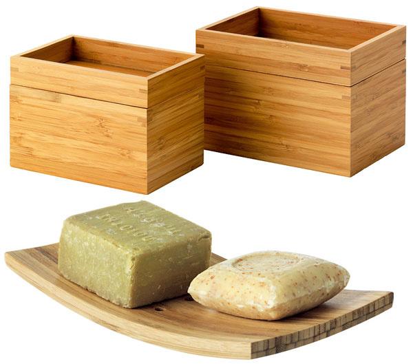Dózičky Dragan zbambusu, cena 9,99 €/2 ks. Miska na mydlo, cena 0,99 €. Predáva IKEA.