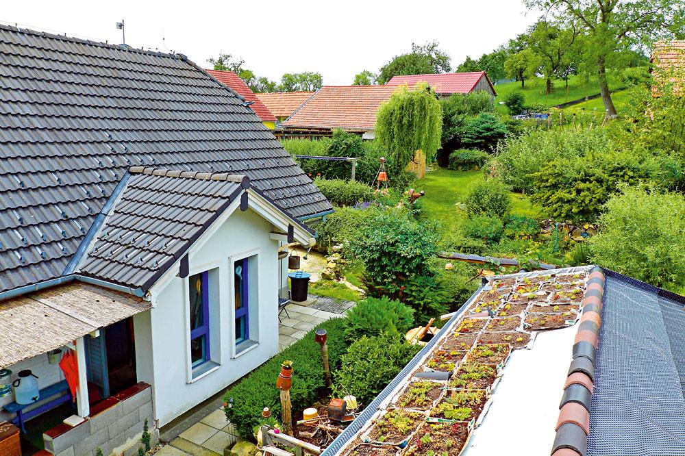 Strecha záhradného domčeka sa mení pred očami na zelenú prostredníctvom originálnej metódy strateného debnenia, ktorú si vytvoril domáci pán.