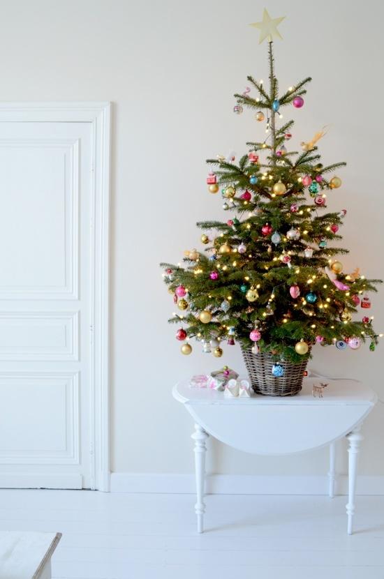 ... urobte si Vianoce aj na chodbe, tradične ozdobený stromček zasadený do jednoduchého prúteného košíka vás privíta vianočnou atmosférou už pri príchode domov...