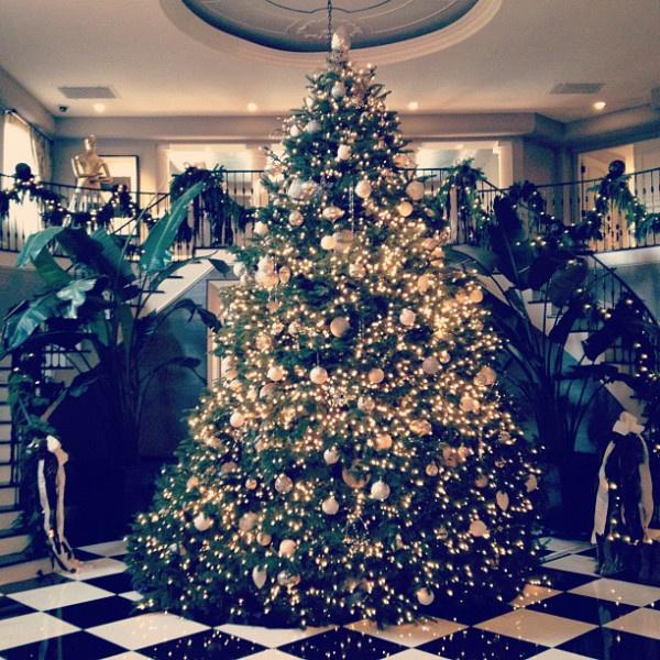 Ak sa môžete pochváliť veľkou vstupnou halou, stavte na veľký stromček s jednofarebnou výzdobou, ktorý dodá vašim Vianociam punc grandióznosti.