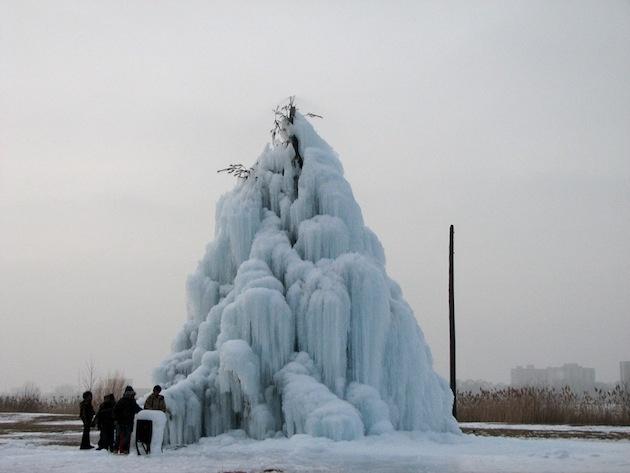 Ďalši tip do exteriéru: stromček pod ľadovou prikrývkou.