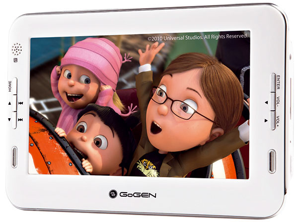 Prenosný prehrávač Hyundai GoGEN PMP 720 so 7″ LCD displejom sLED podsvietením. Je prispôsobený dátovým nosičom, ako sú SD karty aUSB flash disky. Podporuje niekoľko formátov (JPG, MP3, WMA, AVI, DivX aXviD). Je ľahký askladný. Ideálny na cestovanie. Cena 55,70 €.