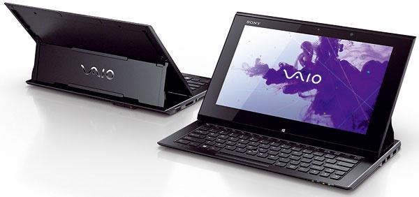 Model Sony VAIO Duo 11 spája výhody ultrabooku atabletu do jedného zariadenia. Dizajn Surf slider umožňuje zmeniť ultrabook shmotnosťou iba 1,3 kg ahrúbkou menej ako 18 mm na ľahko prenosný tablet. Pod dotykovým Full HD displejom suhlopriečkou 29,4 cm (11,6″) sa ukrýva podsvietená klávesnica. Cena 1 339 €.