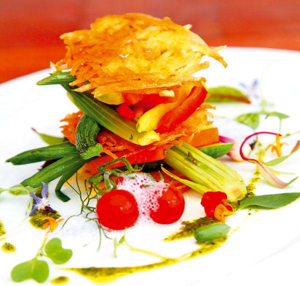 Zemiakové rösti sopečenou zeleninou 600 g zemiakov – šalátové 1 čajová lyžička solamylu 1 cuketa 1 fenikel 200 g tekvice 1 červená ažltá paprika viazanička mladej cibuľky strúčik cesnaku soľ, rozmarín, tymian, olej, olivový olej  1. Očistené zemiaky nastrúhajte na hrubom strúhadle na dlhé rezance a blanšírujtevosolenej vriacej vode tri minúty. Scedené zemiaky nechajte odkvapkať.  2. Pridajte soľ, nasekaný rozmarín asolamyl, dobre premiešajte ana rozohriatej panvici pečte naoleji veľké tenké placky – rösti. 3. Zeleninu nakrájajte na hranolčeky aopečte na olivovom oleji scesnakom, soľou, rozmarínom atymianom.  Servírovanie Na porciu potrebujete tri placky. Na tanieri ich aranžujte striedavo so zeleninou: na placku navrstvite zeleninu, prikryte plackou, znova zeleninou anakoniec plackou. Ozdobte bylinkami.