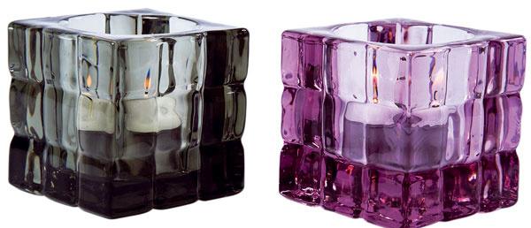 Svietniky Quadrato z farebného skla. Cena 5,90 €. Predáva Kare, Light Park.