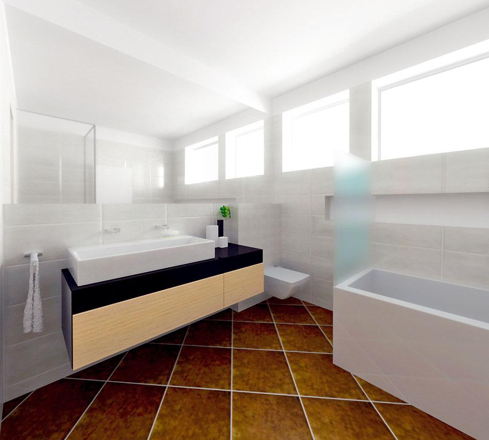 """Domáca pani túžila po modernom, geometricky tvarovanom vybavení, aké je na pôvodnom návrhu kúpeľne. Aj si vybrala krásne dvojumývadlo značky Duravit. Ibaže pri realizácií nakoniec chýbalo na šírke kúpeľne oproti zameraniu asi 12 cm ahranaté umývadlo sa do nej nezmestilo – priveľmi by trčalo do dverí. Jedným zriešení by bolo zbúrať časť priečky aposunúť dvere, nakoniec však zvíťazil menej nákladný variant – namiesto hranatých zvolili oblé tvary keramiky. """"Umývadlo je dostatočne veľké, ale vďaka zaobleniu neprekáža pri vstupe do kúpeľne,"""" vysvetľuje architektka. (vizualizácia: Ľubo Bizík)"""