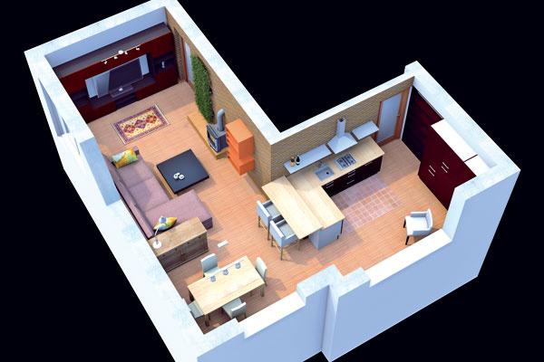 Alternatíva A: Pohľad zhora na spoločný priestor obývačky akuchyne