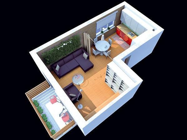 Alternatíva B: Pohľad zhora na spoločný priestor kuchyne aobývačky