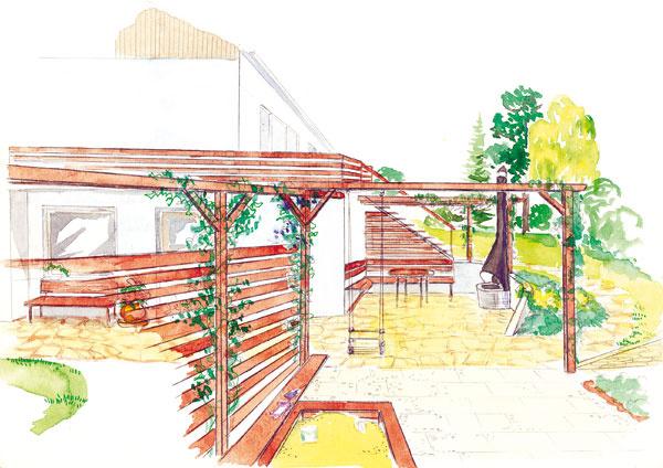 Obytná terasa Vpôdoryse ľavá, vreáli juhozápadná časť by mala patriť len rodine. Pod vyvýšeným balkónom, ktorý je na streche dielne, bude na južnej strane kryté zákutie, čiastočne zapustené do svahu adotvorené jednoduchou pergolou. Vznikne tu posedenie aj skozubom. Letný vstup povedie najmä zobytných miestností na prvom poschodí, teda cez balkónovú terasu. Zodpočívadla budú mať rodičia pod dohľadom pieskovisko ahojdačku pre deti. Na ne nadväzuje malá úžitková záhradka. Celá táto časť bude chránená pred pohľadmi zulice skupinou borovíc.