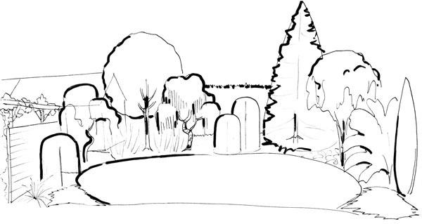 Pre budúci vzhľad každej skupiny rastlín je najdôležitejší jej tvar, pre celoročné pôsobenie je to tvar drevín. Jednoduchá skica výsadieb ukazuje, aký pohľad sa naskytne na záhradu vzime.