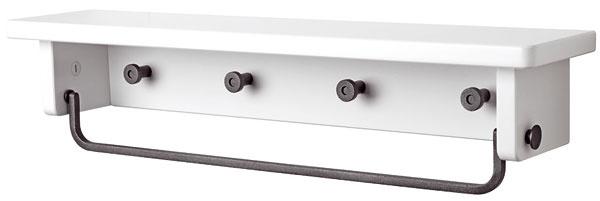 Vešiak na uteráky spolicou Hjälmaren, dizajn T. Christensen aK. Legaard. Rozmery: š 58,6 × hl 12,5 × v12,8 cm. Cena 24,99 €. Predáva IKEA.