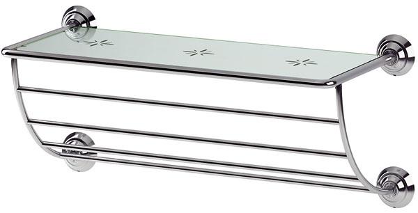Vešiak na uteráky spolicou Lillholmen znehrdzavejúcej ocele atvrdeného skla. Dizajn Cecilia Stööp.  Rozmery: 60 × 26 cm. Cena 29,90 €. Predáva IKEA.