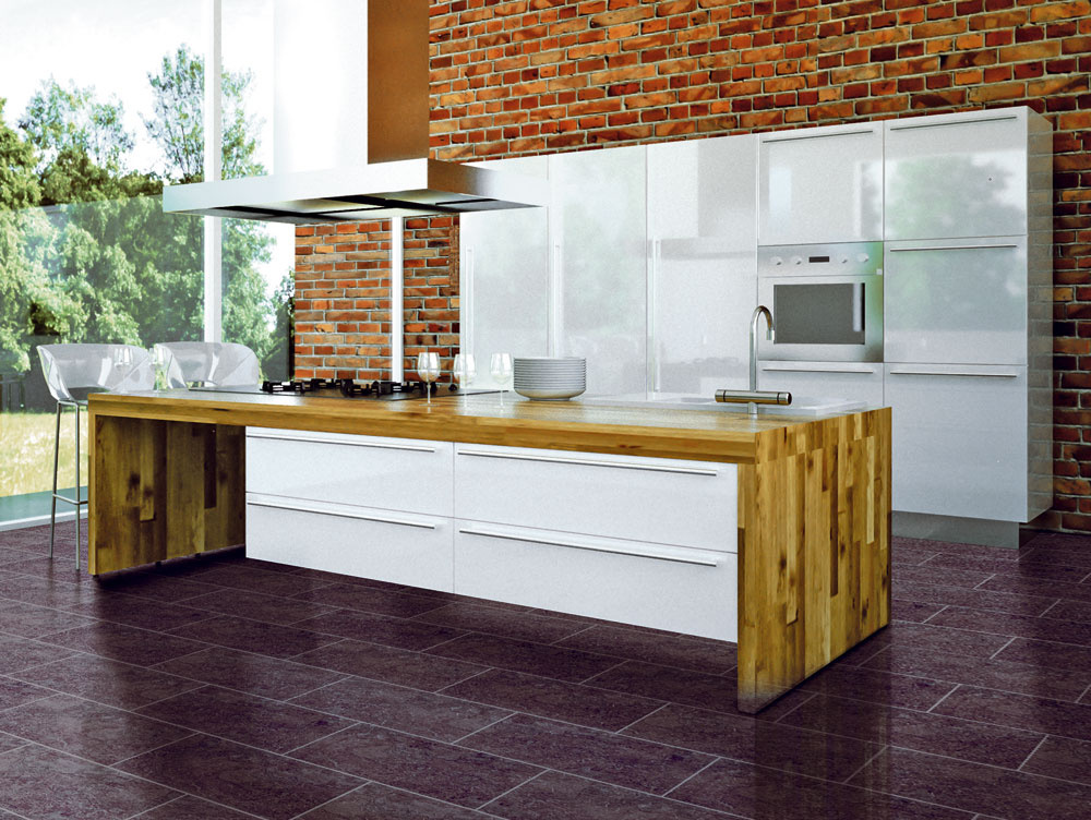 Kuchyňa, to nie je iba kuchynská linka ajej zariadenie. Výrazný vplyv na celkový charakter má aj podlaha, ktorá môže priestoru dominovať alebo ho dopĺňať. Napríklad vinylová podlaha Design Line Connect zkolekcie Laguna stars imituje klasickú dlažbu, na rozdiel od nej však nechladí ani nekĺže. Decentne zvýrazňuje anecháva vyniknúť moderný dizajn kuchynskej linky.