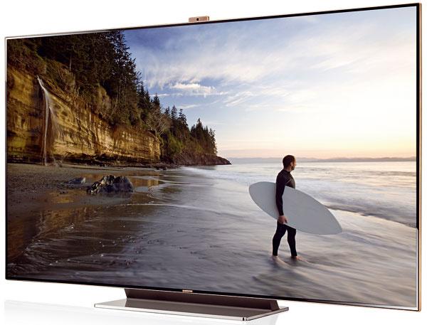 """Televízor Samsung 3D LED SMART TV 75"""" (189 cm) UE75ES9000, Full HD, dynamický kontrast, funkcie Smart TV, integrovaná HD kamera, ovládanie hlasom agestami, rozpoznávanie tváre, zabudovaný Wi-Fi adaptér, nahrávanie na USB zariadenie, konverzia videa z2D na 3D, podpora Smart telefónu ako ovládača, digitálny tuner, PC vstup (HDMI), vstup na slúchadlá, 3× USB, EU Eco známka, príkon pri stand-by < 0,3 W, súčasťou balenia je štvoro 3D okuliarov. Odporúčaná cena 7999 €."""