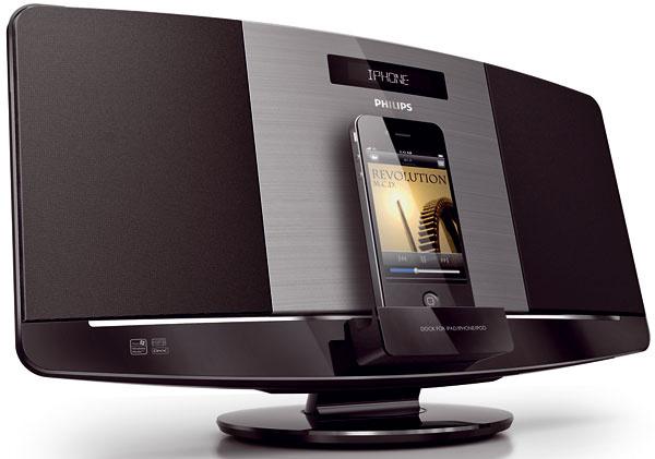 Mikrohudobný systém Philips DCM2060/12, prehrávanie anabíjanie iPod/iPhone/iPad súčasne, prehrávanie hudby na diskoch MP3/WMA-CD, CD aCD-RW, režim USB Direct, pripojenie MP3, digitálny tuner spredvoľbami, RDS zobrazuje informácie ostanici adátové služby, hlboké adramatické basy, celkový výstupný výkon 20 W RMS, reproduktory so systémom Bass Reflex. Cena od 128,99 €.