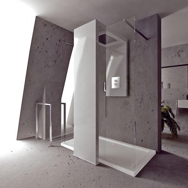 Design Fabrizio Batoni. Surealizmus, fantázia, umenie, funkčnosť? Možno nový pohľad na radiátor vkúpeľni, pri ktorom sa dizajnér pokúsil stvárniť vodu aoheň vjednom celku. Hliníkový radiátor Monolite od Brandoni je spojený spríslušenstvom sprchy do jedného bloku, ktorý je vponuke vo viacerych rozmerových variantoch, vhodných aj do menších priestorov kúpeľne, či už so sklenenými dverami na oboch stranách, alebo ako rohová verzia. Kdipozícii je aj farebné riešenie.