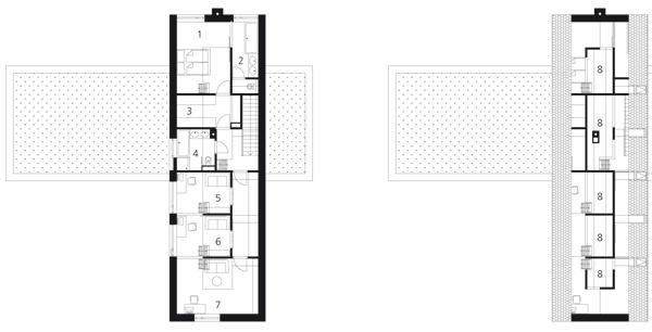 Pôdorys 2.NP 1. spálňa 2. kúpeľňa 3. šatník 4. kúpeľňa 5. detská izba 6. pracovňa 7. detská izba 8. galérie prístupné zjednotlivých izieb