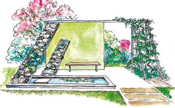 Pokojné odpočívadlo vmodernej záhrade, inšpirované atypickou visutou skalkou varboréte Mendelovej univerzity vBrne. Na kovových nosníkoch sú upevnené travertínové kamene askalničky.