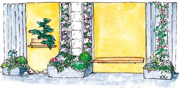 Deliaca stena so zvislou skalkou, kamennými korytami, lavičkou apolicou na bonsaj