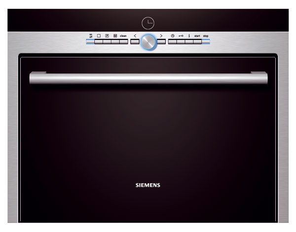 Kombinovaná parná rúra Siemens HB 36D572, varenie vpare, pečenie alebo oboje súčasne. Beztlakové varenie vpare 35 – 100 °C, horúci vzduch 30 – 230 °C, kombinovaná prevádzka 120 – 230 °C, zaváranie, sterilizácia, CookControl 70, objem 35 l, závesné rošty,4 výšky zasunutia plechu, zásobník na vodu 1,3 l. Odporúčaná cena 1 699 €.