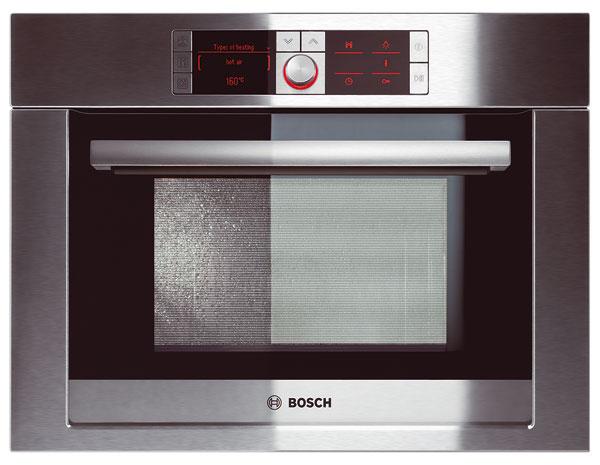 Kombinovaná parná rúra Bosch HBC 36D753 vie variť vpare, piecť alebo oboje súčasne, objem 32 l, automatický odvápňovací ačistiaci program, AutoPilot70 (70 automatických programov sukazovateľom hmotnosti), zásobník na vodu sobjemom 1,3 l. Odporúčaná cena 1699 €.