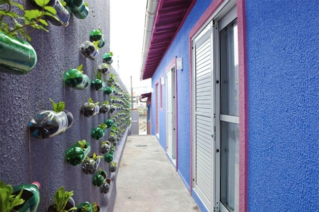 """Fakt, že plast je ľahký, autorom tohto nápadu presne zahral do karát. Vďaka tomu vám na stene, či múre môžu visieť aj desiatky kvetov v plastových obaloch. Tie sa nielen vracajú do obehu, ale keďže pomáhajú rozširovať zeleň, ich použitie sa posunulo do trochu inej sféry. Z hľadiska prírody do vyššej. Takže keď niektorí nazvali tento nápad """"upcykláciou"""", nepomýlili sa :)"""