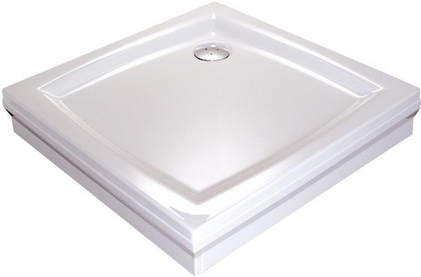 Akrylátová vanička RAVAK Perseus 90 PP+Set L – samonosná vanička skrycími panelmi.  Rozmery 90 × 90 cm, cena 255 €.