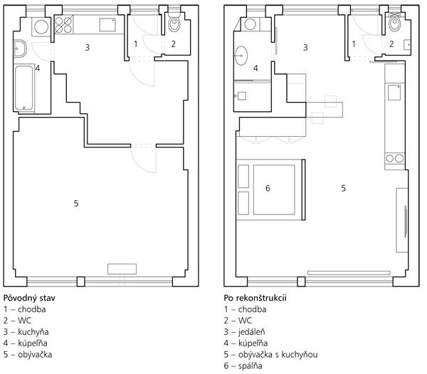 Pôvodný stav 1 – chodba 2 – WC 3 – kuchyňa 4 – kúpeľňa 5 – obývačka  Po rekonštrukcii 1 – chodba 2 – WC 3 – jedáleň 4 – kúpeľňa 5 – obývačka skuchyňou 6 – spálňa