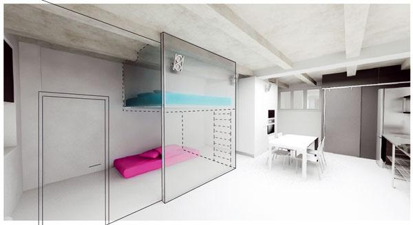 Návrh interiéru so spacím poschodím, ktoré by malo vzniknúť vbudúcnosti.