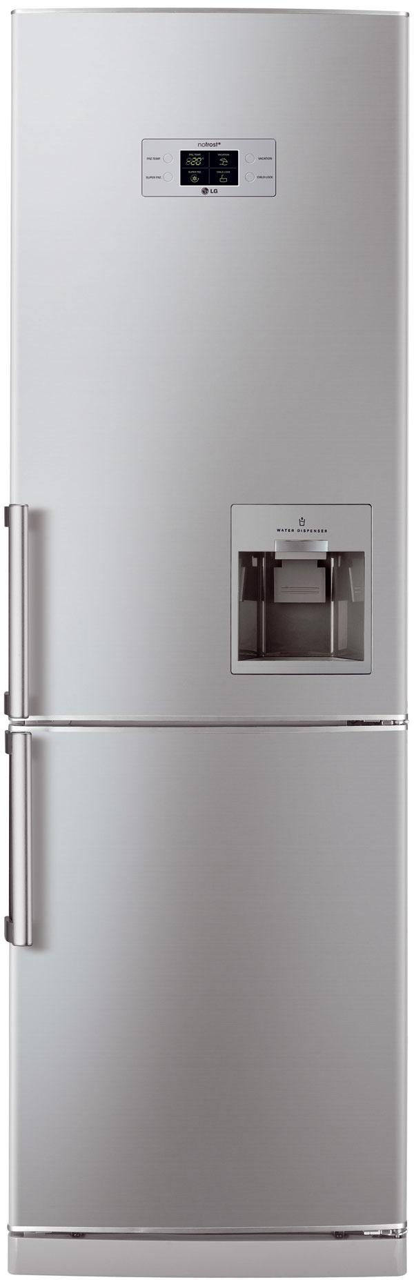 Chladnička smrazničkou LG GC F399BLQW čistý objem: 210 / 86 l energetická trieda: A+ funkcie: Total No Frost, automat na vodu so zásobníkom  rozmery: 59,5 × 189,6 × 65,1 cm cena: 649 €