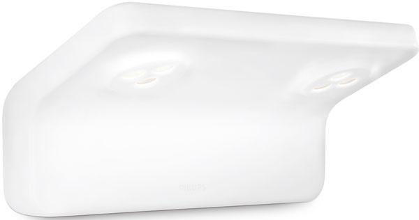 Nástenné LED svietidlo Vanitas od Philipsu, nasmerované nadol, osvetľuje umývadlo či inú časť kúpeľne, dostupné sjednou alebodvoma žiarovkami. Odporúčaná cena 166 €.