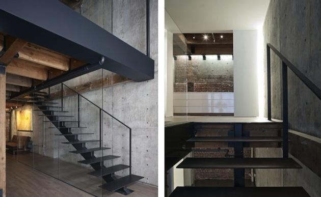Jednoduché schody s veľmi nenápadným skleneným zábradlím.