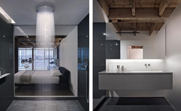 Moderná sprcha vedľa spálne.