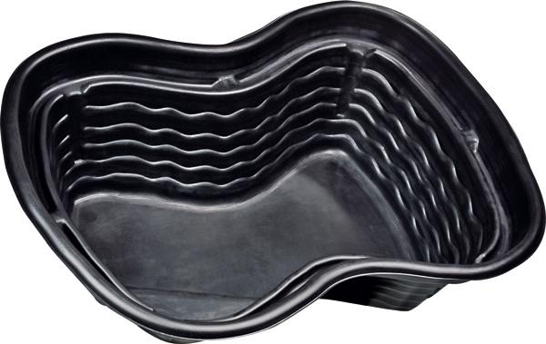 Plastové jazierko, rozmery 124 × 90 × 58 cm, objem 250 l, záruka 10 rokov. Cena 45 €. Predáva Hornbach.