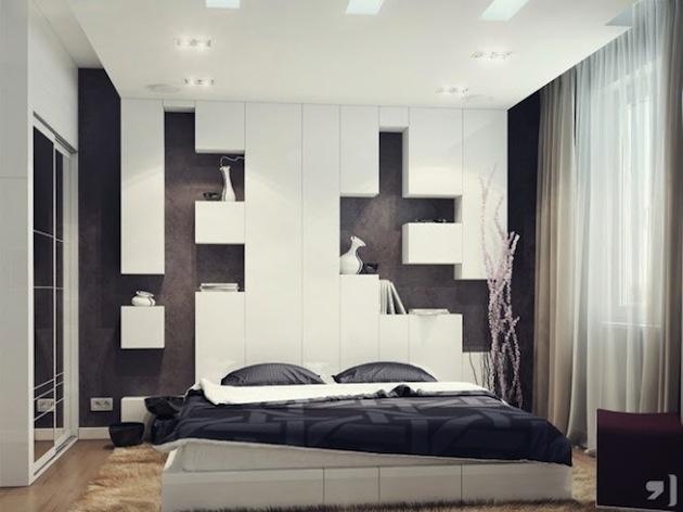 Táto spálňová stena, to je iný žáner, krásne moderný. Pôsobivá kubistická kompozícia si vystačí takmer sama. Večne populárna čierno-biela kombinácia potvrdzuje svoje kvality.