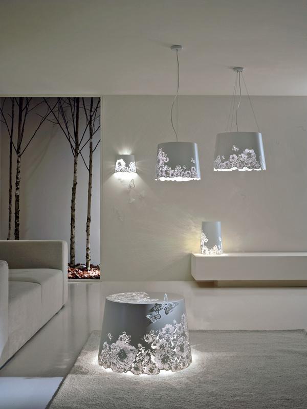 Charakter interiéru výrazne ovplyvňuje aj dizajn svietidiel aich spôsob svietenia. Súčasné trendy ponúkajú skutočne zaujímavé, takmer čarovné možnosti. Túto podmanivú kolekciu Central park zlaserom vyrezávaných kovových tienidiel vytvoril dizajnér Matteo Ugolini.