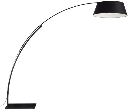 Vysúvacia podlahová lampa Ouverture slakovaným čiernym alebo bielym povrchom, stextilným tienidlom, dizajn Philippe Daney. Cena 1 225 €. Predáva LigneRoset