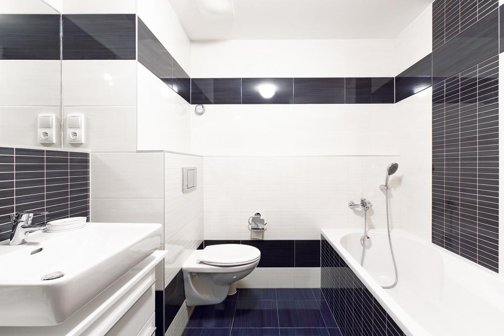 Do kúpeľne aj na toaletu vybrali obklad vstriedmej, vyslovene pánskej béžovo-hnedej farebnej kombinácii. Mladý muž si ju môže oživiť oranžovými alebo zelenými doplnkami.