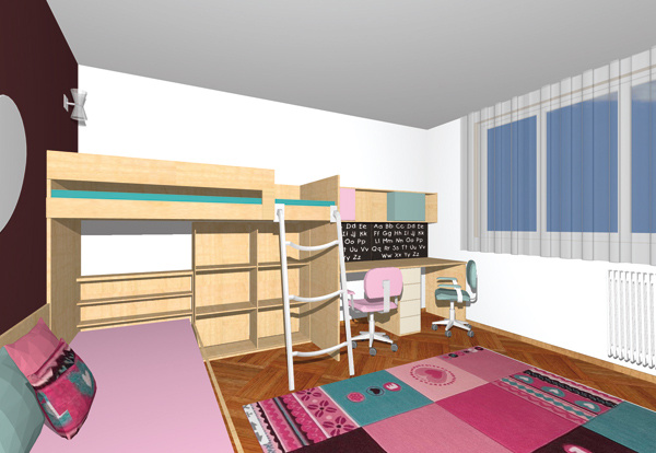 Najpohodlnejší prístup khornej posteli zaistí niekoľko stupňovito usporiadaných skriniek, na tie však vtomto prípade nezostalo miesto.